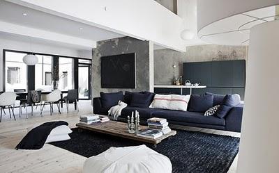 sala de estar en casa prefabricada minimalista