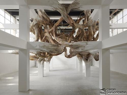 Decoración con raices gigantes en interiores (2)