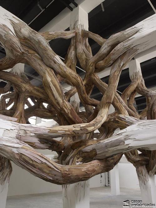 Decoración con raices gigantes en interiores (6)