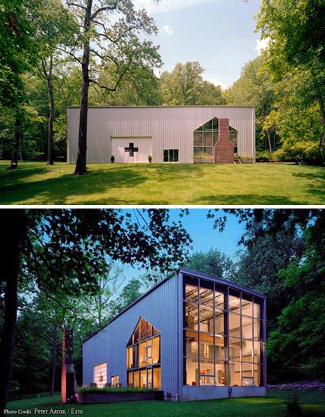 la casa con vista de día y de noche