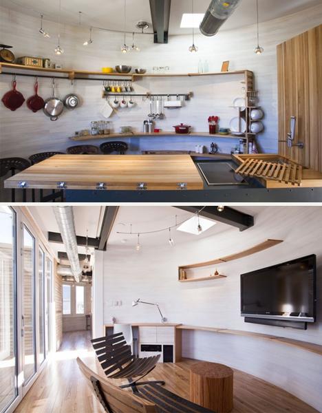 Amplios espacios en la cocina y la sala