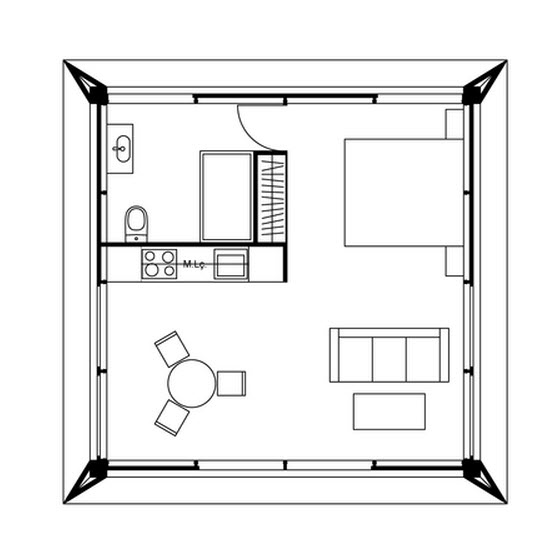 Peque a casa ampliada con m todos prefabricados les for Planos de construccion de casas pequenas